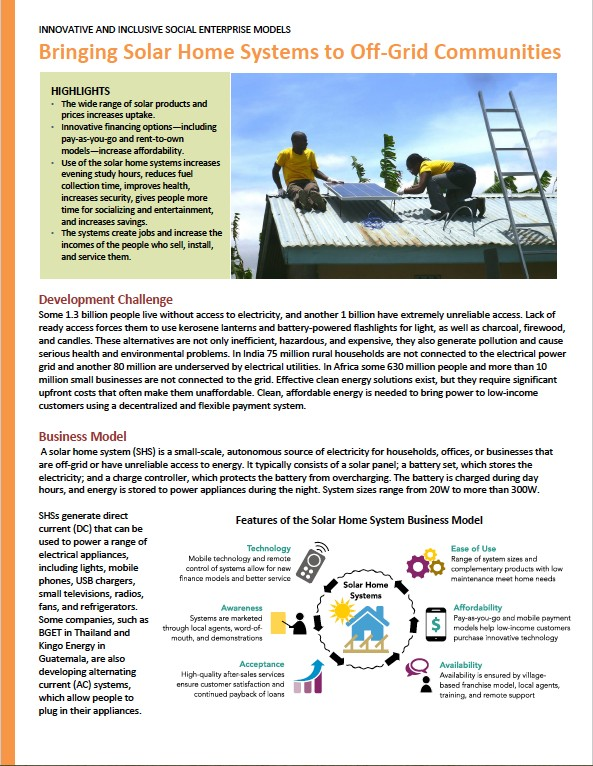 Business model innovation: Solar home systems for off-grid